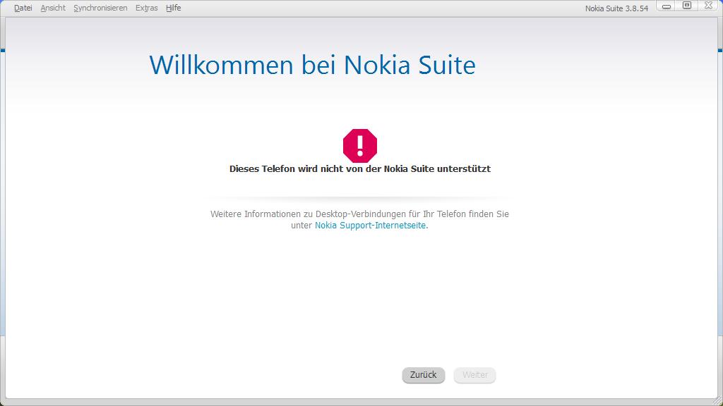 Fehlermeldung Nokia Suite